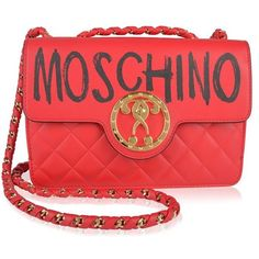 Moschino Graffiti Logo Shoulder Bag (4.110 BRL) ❤ liked on Polyvore featuring bags, handbags, shoulder bags, red, quilted leather purse, leather purses, moschino shoulder bag, quilted handbags and red shoulder bag