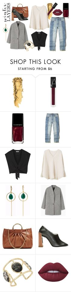 """Over-sized and cropped teamed with BF jeans"" by a-anja ❤ liked on Polyvore featuring NARS Cosmetics, Illamasqua, Hollister Co., Alice + Olivia, MANGO, Revé, STELLA McCARTNEY, Betsey Johnson and Lime Crime"