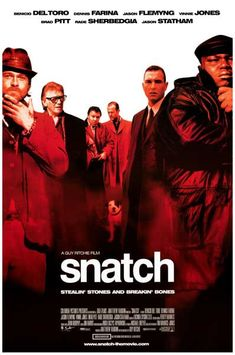 Brad Pitt, Benicio del Toro, Vinnie Jones, and Jason Statham star in the 2000 hit film by Guy Ritchie - Snatch! Ships fast. 11x17 inches.