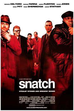 Brad Pitt, Benicio del Toro, Vinnie Jones, and Jason Statham star in the 2000 hit film by Guy Ritchie - Snatch! Ships fast. 11x17 inches.