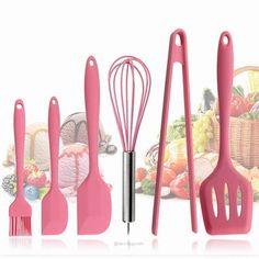 Silicone Kitchen Utensils, Kitchen Utensil Set, Cute Kitchen, Baking Utensils, Kitchen Canisters, Kitchen Storage, Cooking Supplies, Cooking Tools, Cool Kitchen Gadgets