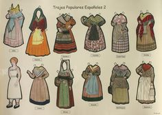 lots of paper doll dresses for little girls Papercraft Anime, Spanish Costume, Paper Art, Paper Crafts, Costumes Around The World, European Dress, World Thinking Day, Vintage Paper Dolls, Small World