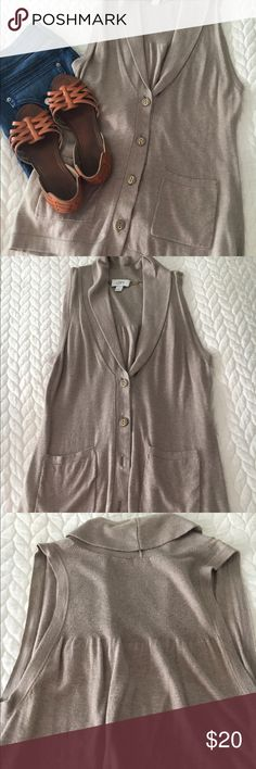 The Loft cloth button-up vest This tan cloth best from the Loft is in perfect condition. Worn only once. Super soft and cozy. Adorable with jeans and booties. Size small. LOFT Jackets & Coats Vests