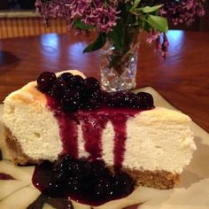 Lemon Souffle Cheesecake with Blueberry Topping