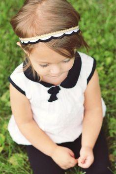 Black Gold and White Scalloped Headband by georgiaandjane on Etsy, $11.95