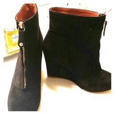 Zara suede booties Cool looking zipper also easy to wear. 3.5 inch wedge heel - very comfortable Zara Shoes Ankle Boots & Booties