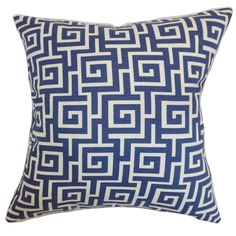 Redecorate your room without spending a fortune by adding this eclectic accent pillow. This square pillow highlights a classic geometric print which is the Greek key pattern.