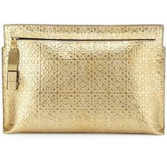 Loewe Large Logo-Embossed Clutch Bag (73060 DZD) ❤ liked on Polyvore featuring bags, handbags, clutches, gold, beige leather purse, metallic clutches, real leather purses, leather handbags and loewe