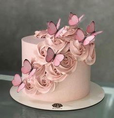 79 Amazing cake inspiration for special celebration - birthday cake ideas, celebration cakes Butterfly Birthday Cakes, Birthday Cake With Flowers, Butterfly Cakes, Birthday Cake Girls, Flower Cakes, Cake With Butterflies, Birthday Cake Designs, Butterfly Birthday Party, Butterfly Baby Shower