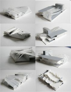 cut and fold structure within landscape: painted corrugate board Conceptual Model Architecture, Folding Architecture, Architecture Design, Folding Structure, Arch Building, Landscape Model, Model Maker, Arch Model, Model Hobbies