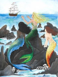 Sirens. A3, Watercolour and gouache. Scott Keenan, 2017 #mermaid #mermaids #art #illustration