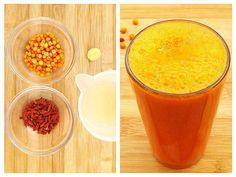 Acest suc natural din fructe este ideal pentru zilele friguroase și posomorâte de toamnă, când suntem cu energia și cu imunitatea la pământ. Se prepară foarte repede, iar rezultatul este un tonic puternic atât pentru … Natural Remedies, Smoothies, Deserts, Low Carb, Pudding, Meals, Fruit, Drinks, Cooking