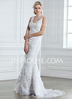 Wedding Dresses - $222.99 - Mermaid V-neck Sweep Train Organza  Satin Wedding Dresses With Beadwork (002005248) http://jjshouse.com/Mermaid-V-neck-Sweep-Train-Organza-Satin-Wedding-Dresses-With-Beadwork-002005248-g5248