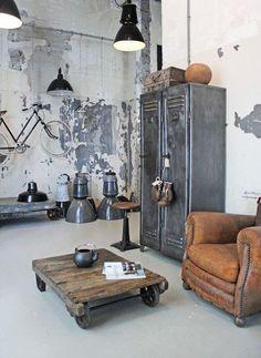 Industrial Decor - metálicos, couro, madeira demolição