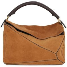 LOEWE Puzzle Gradient Suede Shoulder Bag ($2,190) ❤ liked on Polyvore featuring bags, handbags, shoulder bags, tan, suede handbags, tan cross body purse, cross body, suede purse and tan crossbody purse
