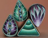 Set of 4 Polymer Clay Purple and Green Petal and Mini Canes -'Possibilities''