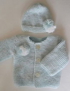 Baby soft cardigan and soft hat Ice-blue color... for 6 by fstn