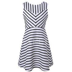 White Black Stripe Sleeveless Dress ($30) ❤ liked on Polyvore featuring dresses, striped dress, black and white sleeveless dress, sleeveless dress, stripe dress and no sleeve dress