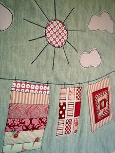 Washing line quilt from scraps