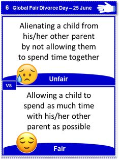 Alienating children from their parents during divorce is an unfair tactic - it is child abuse! Parental Alienation Global Fair Divorce Day 25 June Sinta Ebersohn Divorce Mentor Fair Divorce Children of Divorce Shared Parenting Divorce And Kids, After Divorce, Collaborative Divorce, Divorce Mediation, 25 June, All Family, Extended Family, Helping Children, Parenting Humor