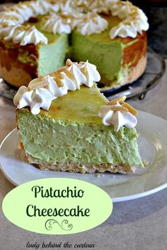 Pistachio Cheesecake - Recipe. A tall cheesecake. Beautiful green color. This cheesecake is very creamy and doesn't have the traditional graham cracker crust. It has an almond crust. Very tasty::l
