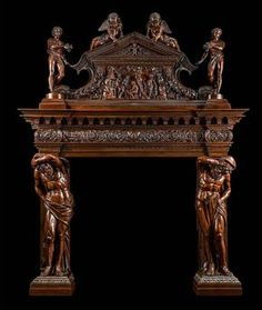 A grand Antique Venetian Baroque style carved walnut sideboard. Wood Fireplace, Fireplace Surrounds, Fireplace Design, Fireplace Mantels, Fireplaces, Mantles, Baroque Furniture, Unique Furniture, Vintage Furniture