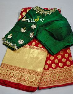Dark red Banaras Saree with plain red blouse material with gold border @ 6200 INR.(Blouse can be customised as per your choice @ additional Cost) Kindly write to teamyellow@yellowkurti.com or whatsapp @ 7995038888 for placing Orders ! 23 September 2017