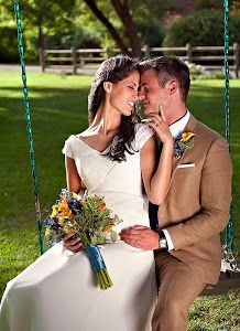 Bride and Groom on swing at Log Haven in Salt Lake City, Utah by Award-Winning Utah Wedding Photographer Melissa Papaj -  Click on the image to enlarge.