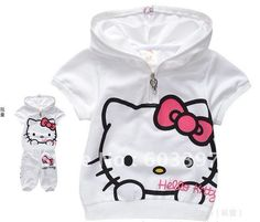 Wholesales girls summer short set hello kitty short sleeves sets with zipper hooded casual clothing sets Cute Baby Boy, Cute Little Baby, Baby Girls, Hello Kitty Clothes, Hello Kitty Baby, Disney Baby Clothes, Baby Disney, Little Girl Fashion, Kids Fashion