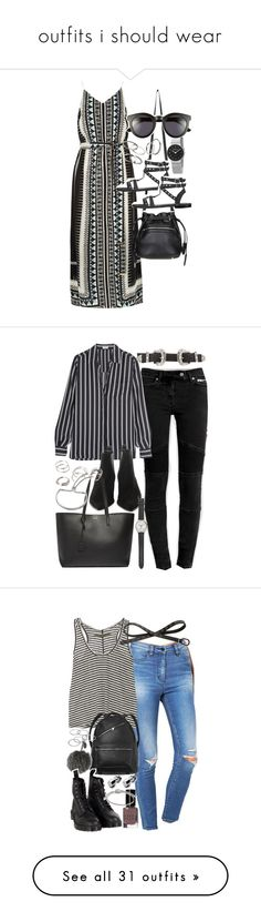 """outfits i should wear"" by smirnova-varya ❤ liked on Polyvore featuring River Island, Topshop, MANGO, Skagen, Crap, AllSaints, Frame Denim, B-Low the Belt, Acne Studios and Yves Saint Laurent"