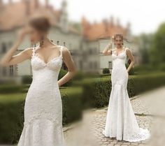 2015 New Arrive Spaghetti Straps Appliques Mermaid Wedding Dresses Lace  Gowns aa4f8b1fad99