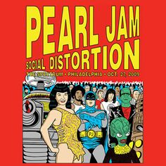 Pearl Jam Gig poster Special guest Social Distortion October 2009 The Spectrum, Philadelphia, Pennsylvania PA, USA Tour Posters, Band Posters, Music Posters, Retro Posters, Poster Vintage, Concert Flyer, Concert Posters, Music Artwork, Art Music