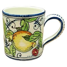 CERAMICHE D'ARTE PARRINI - Italian Ceramic Art Pottery Glass Decorated Lemon Hand Painted Made in ITALY Tuscan