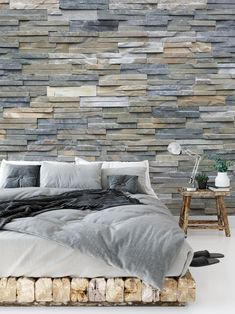 Gray Slate Stone Brick Texture Faux Wall Wall Mural by pipafineart Slate Effect Wallpaper, Faux Walls, Removable Wall Murals, Brick Texture, Slate Stone, Mural Wall Art, Handmade Home Decor, Dorm Decorations, Art Online