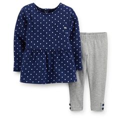 "Carter's Girls 2 Piece Navy/White Polka Dot Long Sleeve Peplum Top and Grey Legging Set - Carters - Babies ""R"" Us"