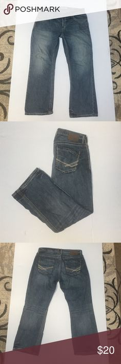 "Men's bke jeans Men's BKE Derek denim jeans, 34S, measurements are: crotch to end of leg 28"", hip to end of leg 38.250"", across the waist laying flat 18.500"". Zipper works great, button is firm, all stitching is nice and tight, no holes or rips. 100% cotton, made in china, RN# 75720, style# ABM12070. Smoke and pet free house BKE Pants"