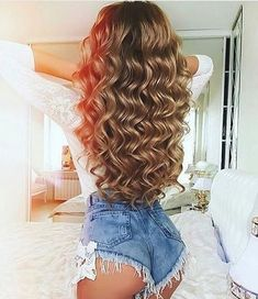 45 Lovey-Dovey Curly Hair Styles For Long Hair Curly Hair Styles, Long Curly Hair, Big Hair, Wavy Hair, Blonde Hair, Curls Hair, Blonde Honey, Pretty Hairstyles, Wig Hairstyles