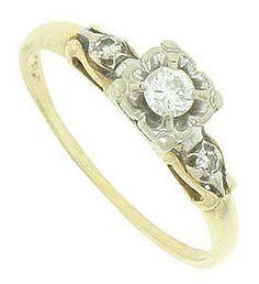 Art Deco 14K Bi-Color Gold Diamond Engagement Ring (item #999590), $475.00