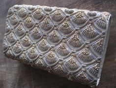 Beaded and Gold Thread Embroiderd Clutch, Taupe and Gold Purse, Made in India, Ivory Palace New Delhi