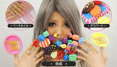 "Candy Crush Nails - Japan knows a thing or two about human billboards. And now, from the PR company that brought the world adverts stuck to girls' thighs on the condition that the girls wear short skirts and knee-high socks, comes a brand new marketing idea : Candy Crush are sponsoring this girl's fingernails, with a wacky, candy-based design that's as bold and colourful as the game itself. The lucky lady pictured above goes by the name of ""Harutamu""."