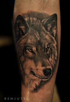 tattoo by Regina Renjute #tattoo #renjute #custom #latvian #latvia #rigatattoo #tattooinriga #ink #wolf #portrait #arm