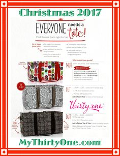 #31 - EVERYONE NEEDS A TOTE! DUT - Deluxe Utility Tote. LUT - Large Utility Tote. MUT - Medium Utility Tote (available in November only). Three Sizes, just right for all your needs. These make a great gift for Christmas or any Holiday occasion. Check out all the Thirty-One prints available at MyThirtyOne.com/PiaDavis or find your consultant in the upper right corner of the website.