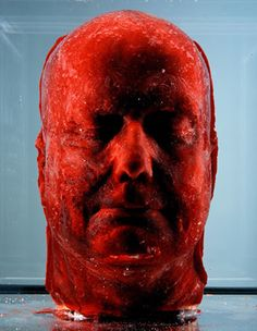 beautifulandslightlyfucked:    Marc Quinn – 'Self' (1991)  Cast of own head made with 4.5 litres of his own blood (frozen).