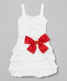 Look what I found on #zulily! Ivory & Red Bow Pick-Up Dress #zulilyfinds