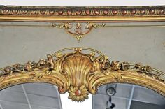 Large 19th C. Louis XV Trumeau Style Mirror with Old Paint   From a unique collection of antique and modern trumeau mirrors at https://www.1stdibs.com/furniture/mirrors/trumeau-mirrors/