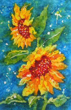 Sunflowers on Batik by Martha Kisling