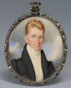 """Georgia Miniature Portrait - Signed miniature watercolor portrait of a Southern gentleman, Benajah Smith Bibb (b. 1796-d. 1884). Sandy-red haired gentleman with tall forehead, blue eyes, & cleft chin, wearing a black coat & white waistcoat & tie, circa 1830. Signed lower right """"Bridport"""" (Hugh Bridport, English/American, 1794-1868). Housed in a silver repousse frame with gilt metal backing, with lock of hair enclosed under a heart shaped glass panel. 3"""" x 2-1/2""""."""
