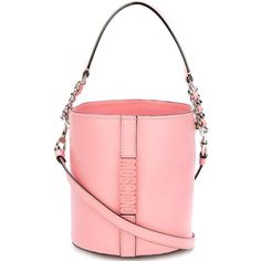 Moschino logo plaque bucket tote featuring polyvore, women's fashion, bags, handbags, tote bags, pink, pink tote, red tote bag, pink leather handbags, leather tote bags and leather tote handbags