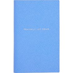 "Smythson ""Frankly, My Dear..."" The Panama Notebook (1.010.700 IDR) ❤ liked on Polyvore featuring home, home decor, stationery, filler and blue"