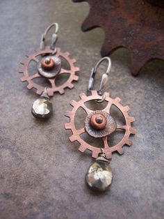Steampunk Earrings with Copper and Pyrite Industrial Jewelry